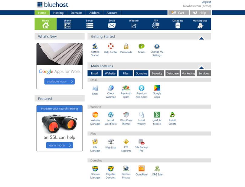 Bluehost Web Hosting cPanel