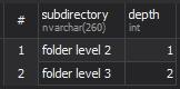 MS SQL Server - sys.xp_dirtree (Список всех подпапок двух уровней)