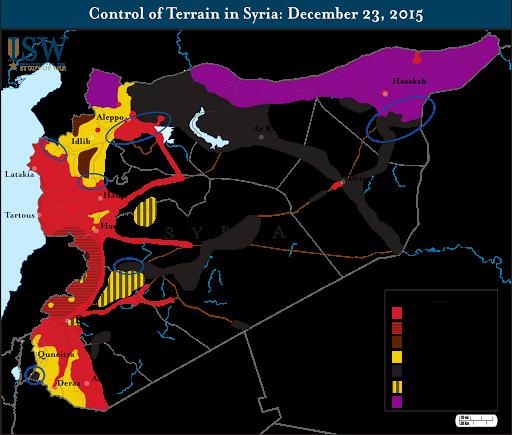 Control of Terrain in Syria: December 23, 2015