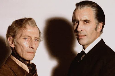 Publicity still, Peter Cushing and Christopher Lee, The Satanic Rites of Dracula, 1973