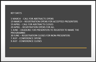 Image text reads: Key dates, 1 March - call for abstracts opens, 19 March - registration opens for accepted presenters, 19 April - call for abstracts closes, 20 April - registration opens for all, 1 June - Deadline for presenters to register to make the programme, 30 June - registration closes for non-presenters, 7 July - conference opens, 9 July - conference closes.