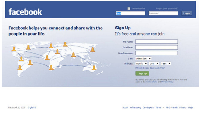 Facebook Log-in Page 2008
