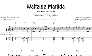 Waltzing Matilda Partitura de Piano en Do (C), Fa (F) y Sol (G) Mayor
