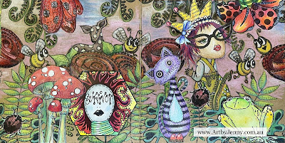 Art by Jenny journal page made using Dylusions stamps and coloured pencils