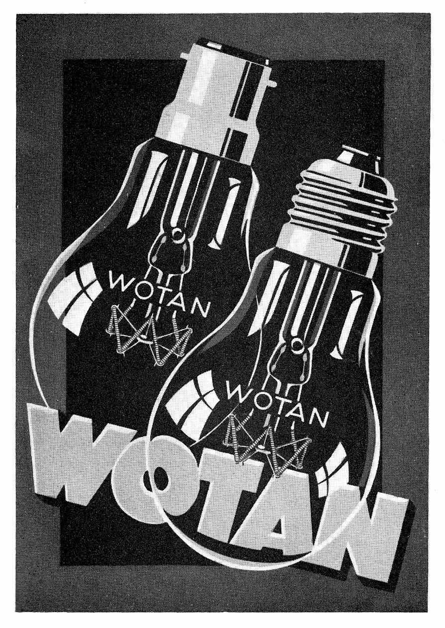 a 1930 advertisement illustration for Wotan light bulbs