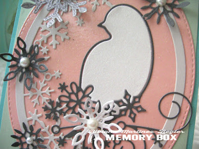 christmas card bird in pastels details