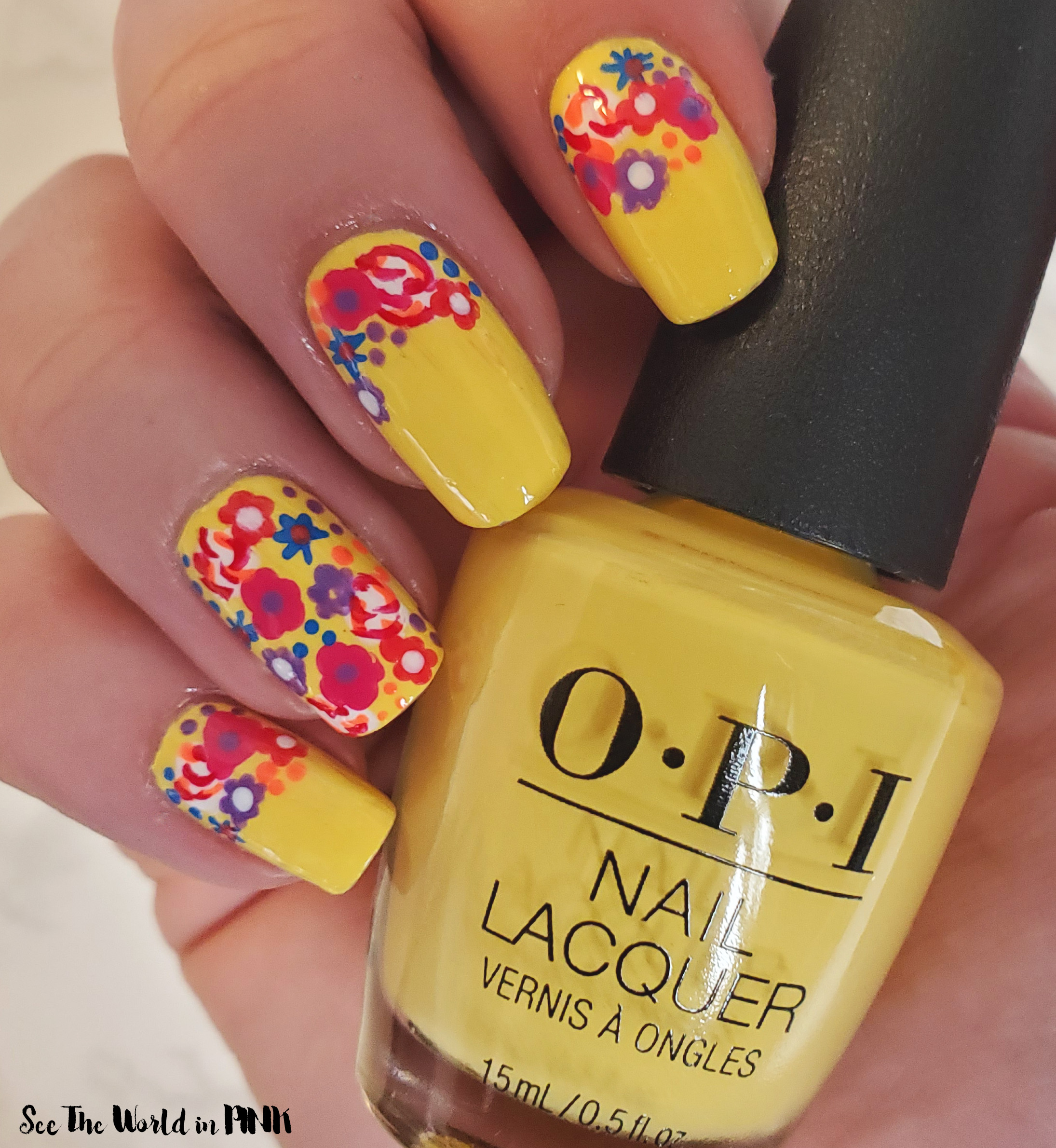 Manicure Monday - Colourful Spring Flower Nail Art