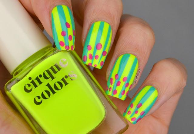 Neon Watermelon Nail Art