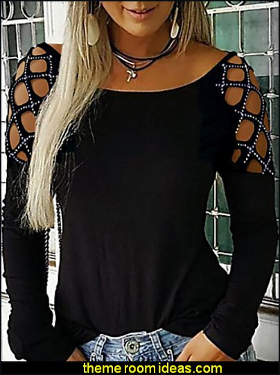 Women's Daily Wear T-shirt - Solid Colored Black sequins top embellished top womens blouse