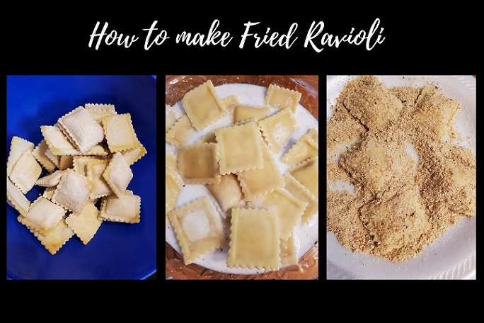 this is a collage on how to make Italian fried ravioli appetizers