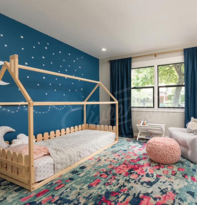 غرفة نوم بنات , اطفال , بسرير , كاملة , سرير ارضي , الوان فاتحة