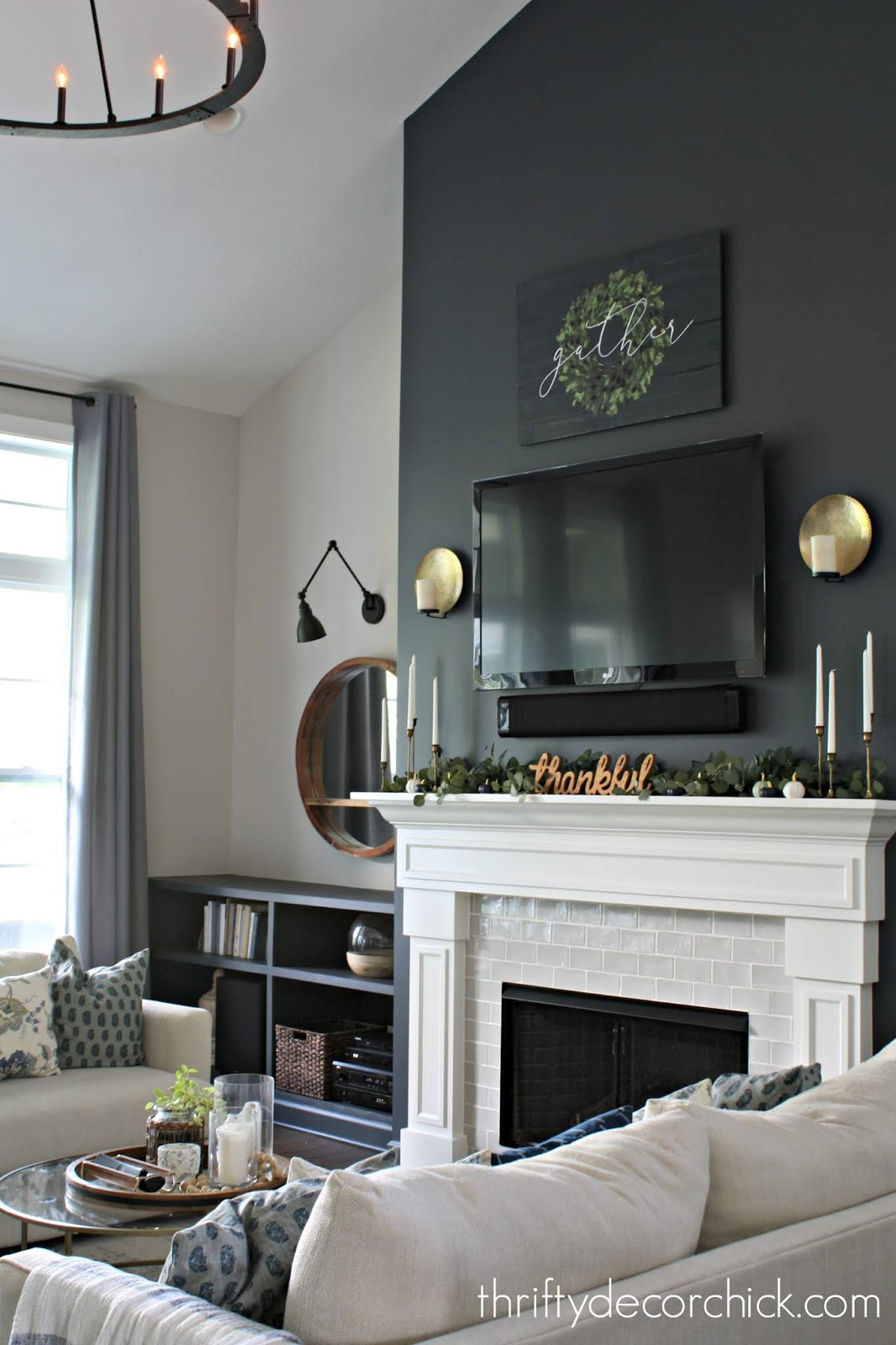 Simple and pretty fall mantel with greenery