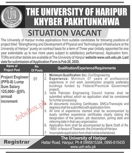 Jobs in The University of Haripur KPK Latest vacancies 2020