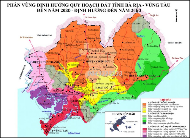 Bản đồ quy hoạch chung Bà Rịa - Vũng Tàu định hướng 2030-2050