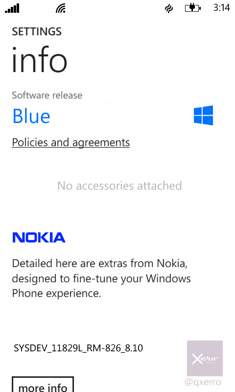 Info + Extras menu... without the Extras. Notice that accessories will have a dedicated corner in WP 8.1
