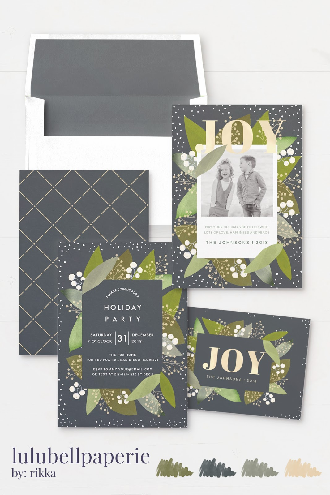 Olive Green, Navy Blue, and Gold Joy Berries Christmas Card Stationery Suite - Custom Photo & Invitations Assortment