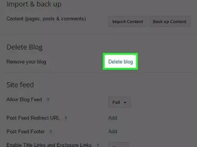 طريقة حذف مدونتك على Blogger