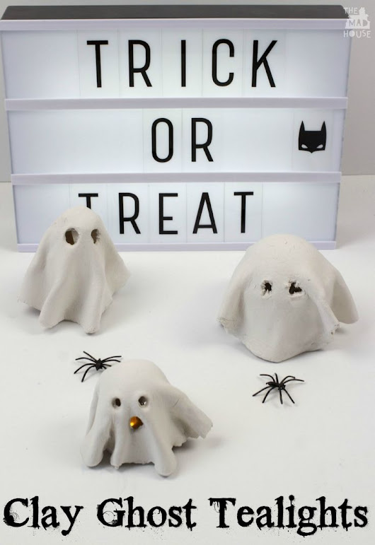 How to Make a Clay Ghost Tealight. This fun kids craft is perfect for Halloween.