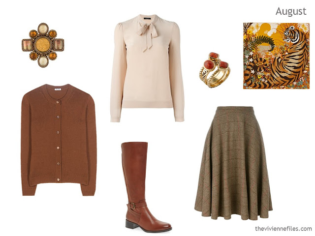 cardigan, blouse and skirt in rust, cream and brown