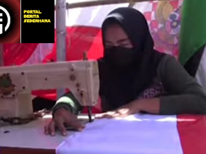 Bermodal Mesin jahit,Pengrajin Bendera di Surabaya Banjir Orderan Disaat PPKM