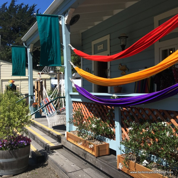 colorful hammocks at Worldly Goods in Duncans Mills, California