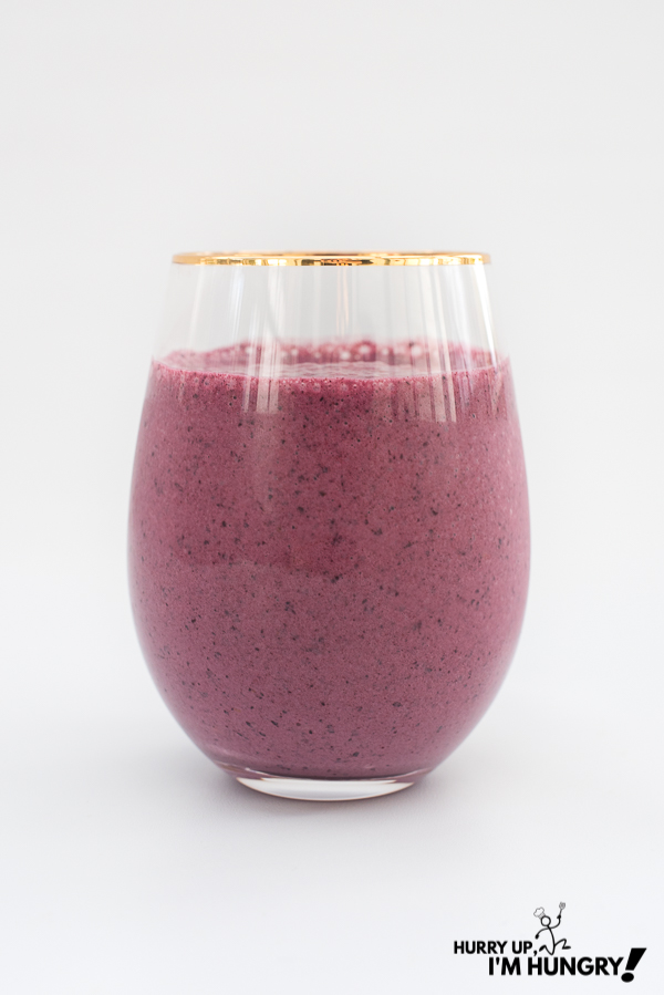 This Saskatoon berry banana smoothie is a great answer to the question: what can you make with Saskatoon berries?