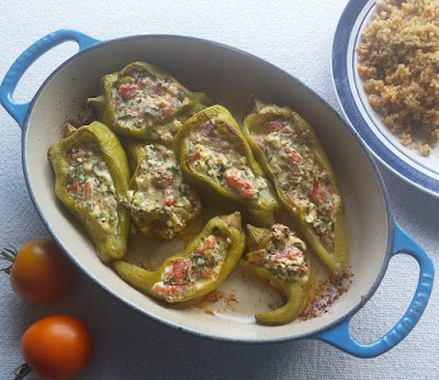 Greek Feta, Parsley & Tomato Stuffed Peppers