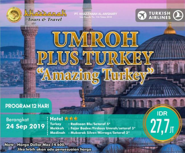 paket umroh september 2019 plus turki