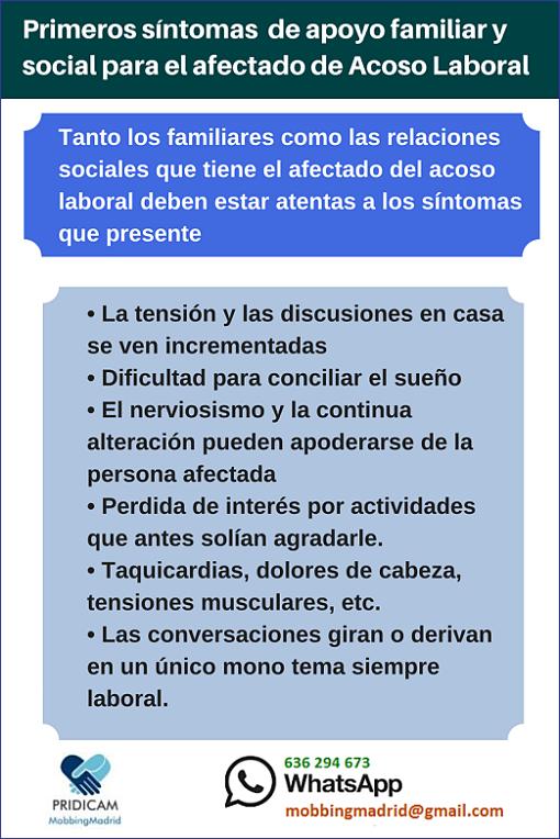MobbingMadrid Primeros síntomas y formas de apoyo familiar para el afectado de Acoso Laboral