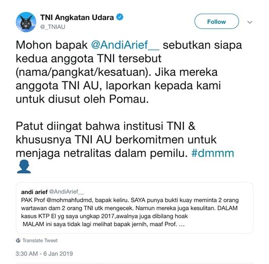TNI AU Minta Andi Arief Sebut Anggota TNI yang Ikut Usut 7 Kontainer Surat Suara