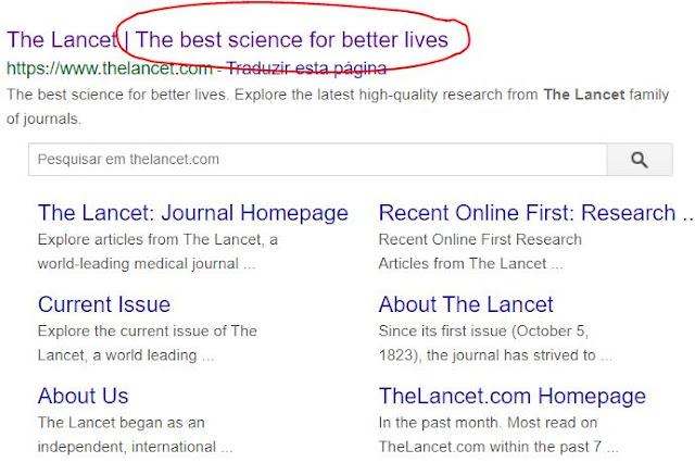 The Lancet revista mais importante ciências médicas