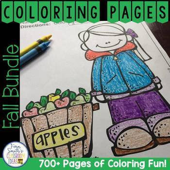 Fall Coloring Pages Big Discounted Bundle #FernSmithsClassroomIdeas