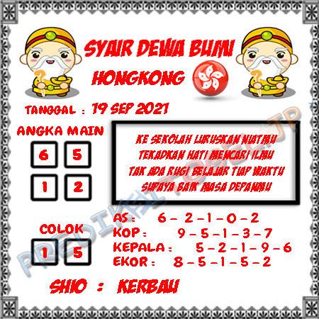 Syair Dewa Bumi HK Minggu 19-09-2021
