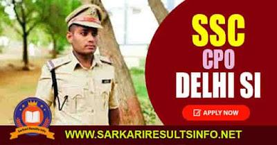 SSC CPO Delhi SI Apply Online 2020