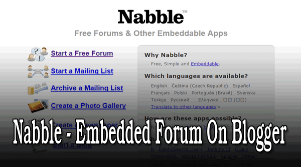 Nabble Embedded Forum