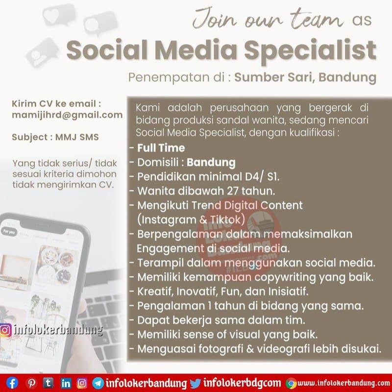 Lowongan Kerja Social Media Specialist Mamiji Bandung Januari 2021
