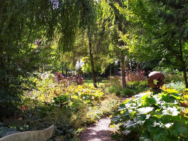 ogród leśny, ścieżka ze żwiru