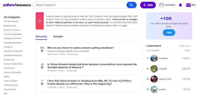 Yahoo Answers Shutting Down Forever on May 4th