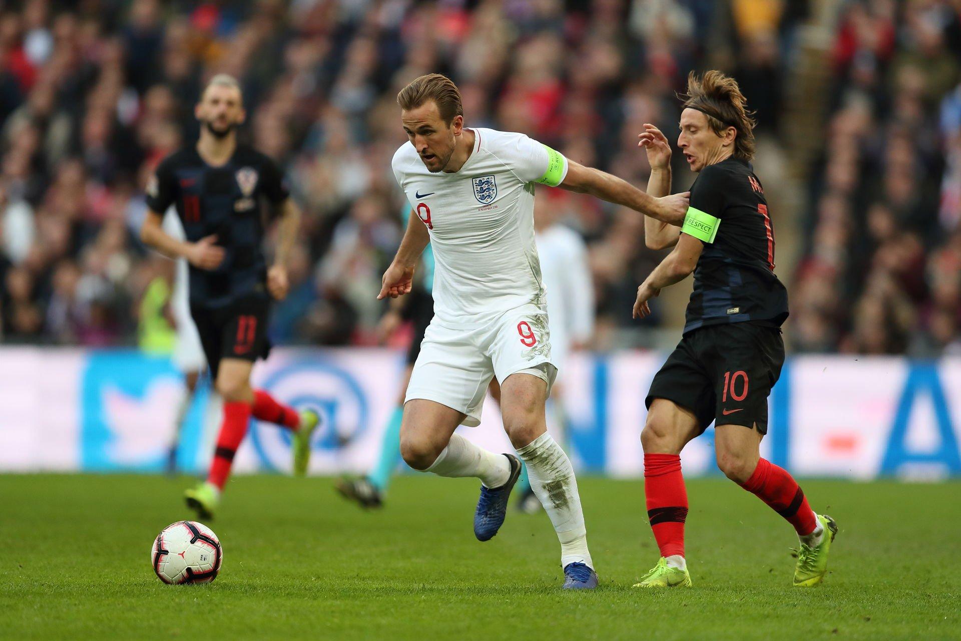 Harry Kane and Luka Modric will lock horns on Sunday