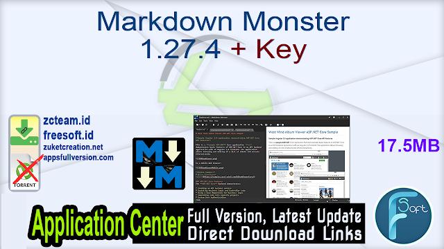 Markdown Monster 1.27.4 + Key_ ZcTeam.id