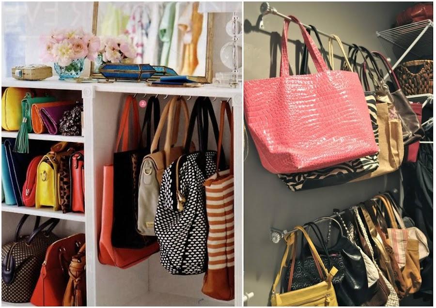 10 maneras ingeniosas de c mo organizar bolsos y carteras - Donde guardar los bolsos ...