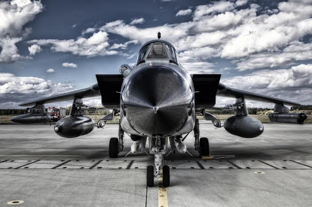 Military plane on tarmac