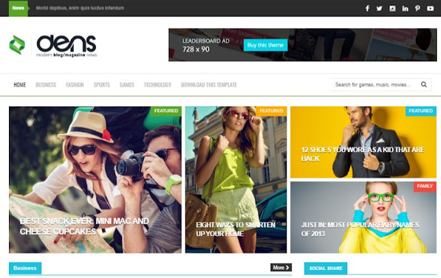 Dens Magazine Blogger Templates Download