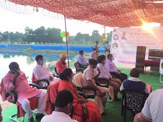सीतामढ़ी के जरासंघ तालाब का मुख्यमंत्री नीतीश कुमार ने वीडियो कांफ्रेंसिंग के जरिये किया उदघाटन।