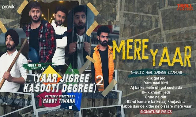 MERE YAAR LYRICS - N Gritz featuring Sarang Sikander