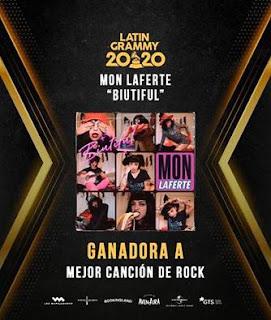 """Mon Laferte gana """"Mejor Canción de Rock"""" por """"Biutiful"""" en los Latin Grammy"""