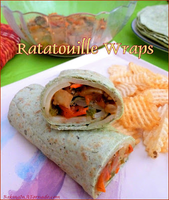 Ratatouille Wraps feature a tortilla with melted cheese and stuffed with a bounty of sautéed vegetables. | Recipe developed by www.BakingInATornado.com | #recipe #vegetables