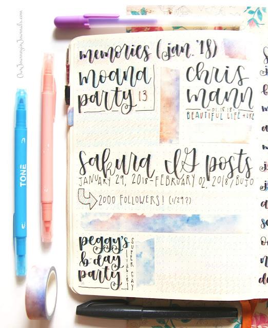 january bullet journal monthly memories spread