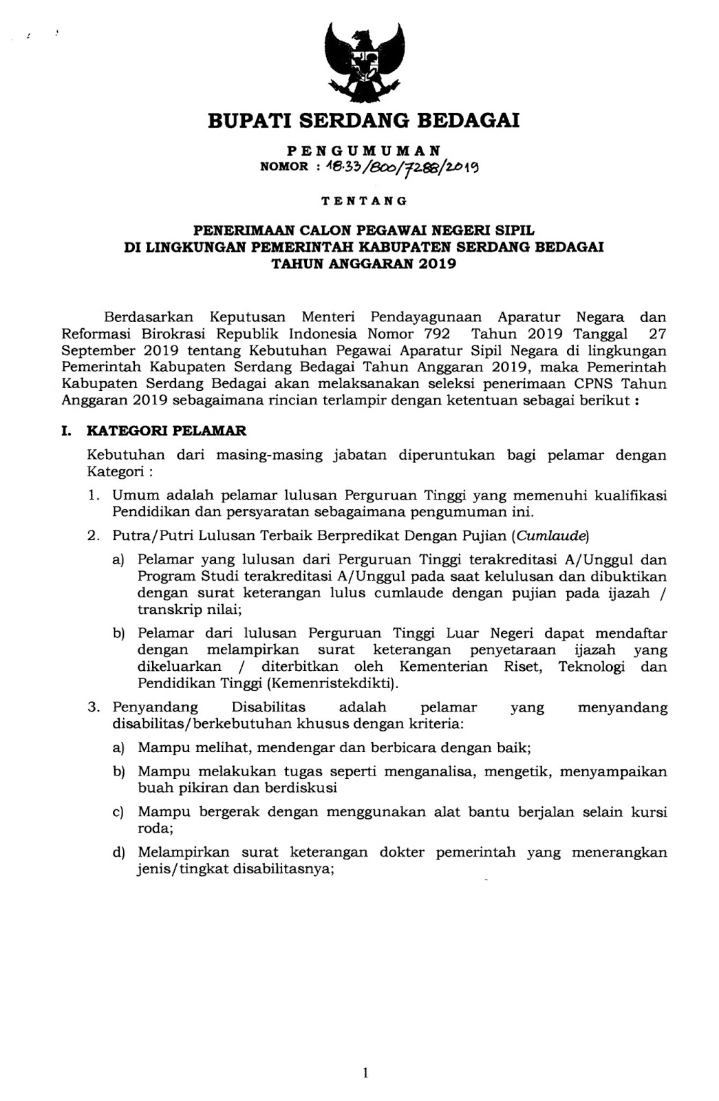 Lowongan CPNS Kabupaten Serdang Bedagai Tahun Anggaran 2019 [104 Formasi]