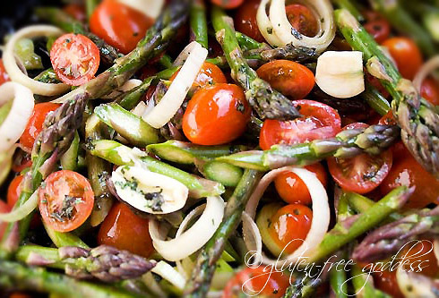 A simple and romantic roasted vegetable pasta dish for two using gluten-free pasta